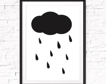 Nursery Cloud Print, Nursery Decor, Rain Cloud Print, Cloud Nursery, Cloud Art, Scandinavian Nursery, Clouds Wall Art, Nursery Wall Print