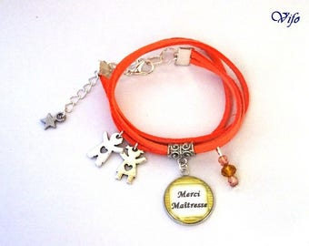 Suedette school cabochon bracelet * thank you mistress * gift mistress, orange, mistress who rips, mistress to the top