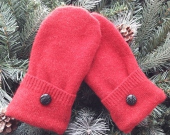 Recycled Sweater Mittens, Wool Sweater Mittens, Wool Recycled Sweater Mittens, Red and Black Wool Mittens - RSM00108