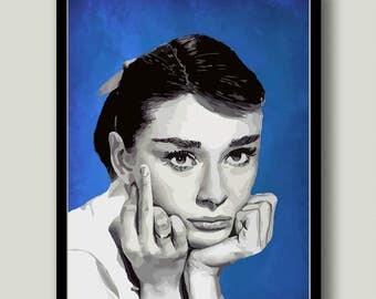 Audrey Wall Art, Audrey Printable, Audrey Hepburn Art, Audrey Hepburn, Printable Art, Instant Download