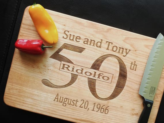 Personalized Anniversary Wood Cutting Board in White Oak, Maple, Cherry or Walnut Wood.