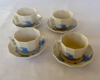 Set of 4 Rookwood Cups and Saucers