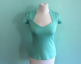 Turquoise 1950 s Style Rockabilly Pin Up Top with Angular Neckline Size S
