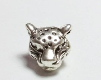 2pcs Leopard Beads - Antique Silver Spacers - Metal Jewelry Findings Supplies - B0081489