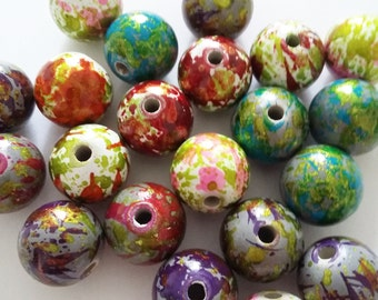 10pcs Painted Beads Assorted - 16mm Acrylic Beads - Plastic Beads  - Multicolour Beads - Jewelry Making Supplies - B28237