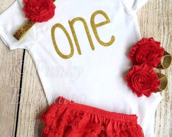 First Birthday Outfit - Gold Glitter & Red - Bodysuit, Bloomers / Frilly Knickers, Headband, Barefoot Sandals - Photoshoot, Gift, 1st
