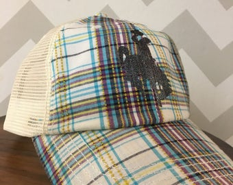 Plaid distressed Wyoming baseball hat