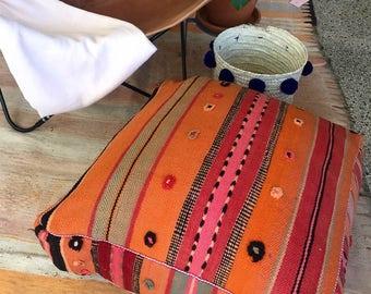 Handmade and unique kilim, kelim Moroccan pouf,poef,osmane,puff,ottoman,foot stool,floorpillow