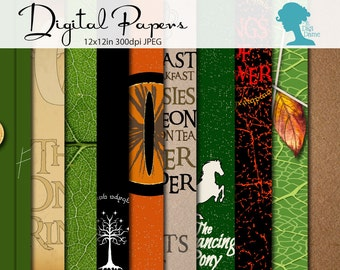 Middle Earth Digital Scrapbooking Paper Pack, Buy 2 Get 1 FREE. Instant Download