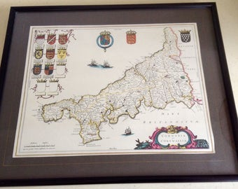 A  Vintage Map.Print.  Mounted and Framed under glass. Copy 17th Century Engraving. Cornwall. Cornvbia. Cornwallia.