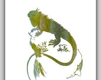 Watercolor prints, water color print, water color art, Lizard, Lizards, iguana, reptile, reptiles, art, print, prints, printable, green, diy