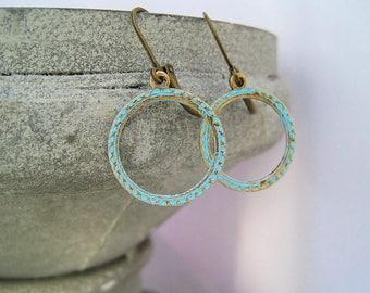 Hoop earrings turquoise bronze earrings vintage