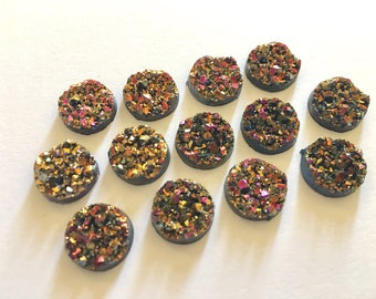 12mm Druzy Cabochons, Strawberry Gold, jewelry making kit, earring set, diy jewelry, druzy studs, 12mm Druzy, cabochon, stud earrings
