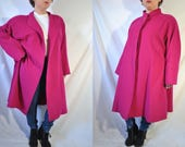 Vintage 70s Pink Swing Coat Mod Camel Hair Coat Warm Winter Coat Long Maternity Jacket Real Fur Coat Evening Mad Men Coat Formal Outerwear