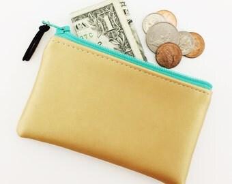 faux leather change purse – gold – slim wallet – aqua zipper