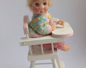 Handmade Miniature Ooak Baby Girl Doll Handsculpted Dolls House with knitted cardigan