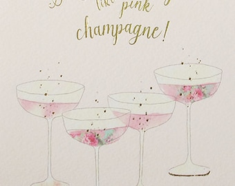 Make it pop like pink champagne birthday celebration card, Champagne glasses pink fizz card with gold foil,