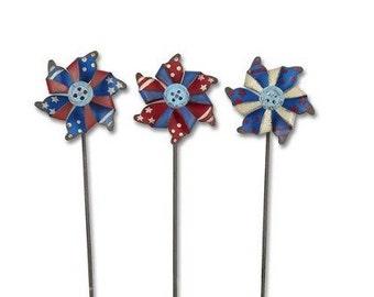 Fairy Garden  - Patriotic Pinwheels Set of 3 - Miniature