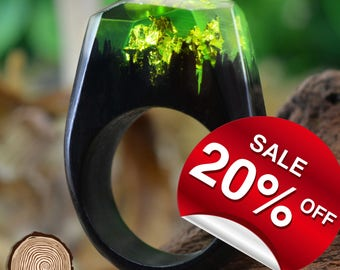 Fairy Land ( Handmade Wooden Resin Ring. Wood Resin Ring.  Wood jewelry. with Magnificent Tiny Fantasy Landscape )