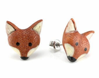 "Hand Carved- ""Fox Moji"" - Sabo Wood with Ebony Wood and Bone Inlay Stud Earring - Zoo Moji"