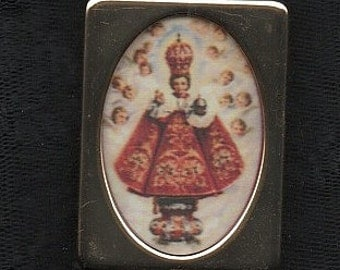 TINY BRASS FRAMED Holy Infant of Prague fabric printed image. Very beautiful copy to treasure. Postage to Uk or Ireland is included!!!