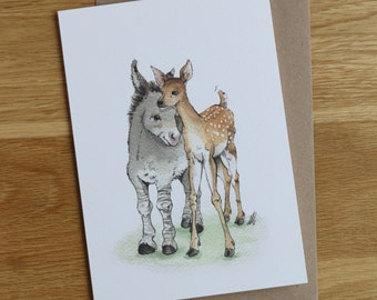 Little in Love. Hand drawn illustration of a donkey and deer. Cute.