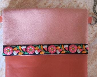 Satchel leather bag orange shoulder