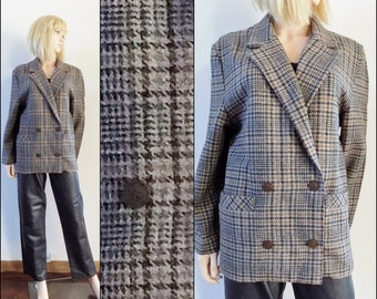 Womens oversized slouchy plaid jacket brown plaid wool jacket size medium