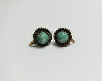 Antique Hubbell glass turquoise earrings screw