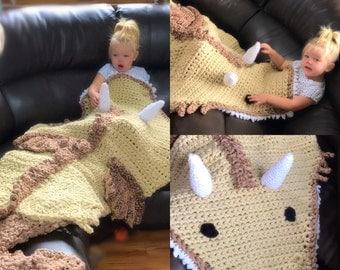Crochet Dragon Snuggle Sack Blanket, Free Shipping