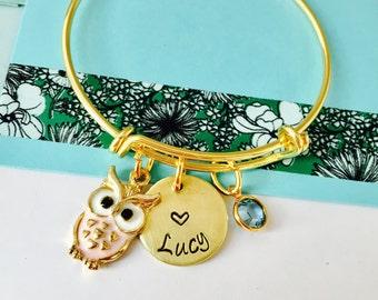 Owl Bracelet, Owl Jewelry, Personalized kids Bracelet, Little Girls Bracelet, Gold Bracelet, Owl Name Bracelet