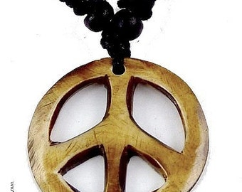 PEACE AND LOVE necklace Nepalese hippie babacool jewelry Buddhist ref pal