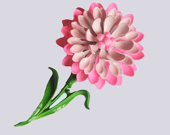 Add some Flower Power this Summer. Vintage Pink Enamel Flower Brooch 1960s-1970s
