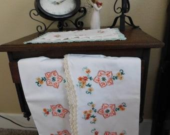 Folk Flowers* Vintage Pillowcase Duo