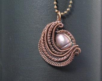 Pearl Pendant, Wire Wrap Pearl, Wire Weave Pearl, Wire Wrap Pearl Pendant, Wire Weave Pearl Pendant, Wire Wrap Jewelry. Wire Weave Jewelry.