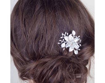 Silver Bridal Hairpin, Crystal, Pearl Hairpin, Gifts for Her, Silver Leaf Hairpin, Bridal Hairpin, Boho Hairpin, Hairpin 5 (S)