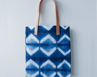 Shibori and Leather Tote bag //Tribal Nights Summer Bag