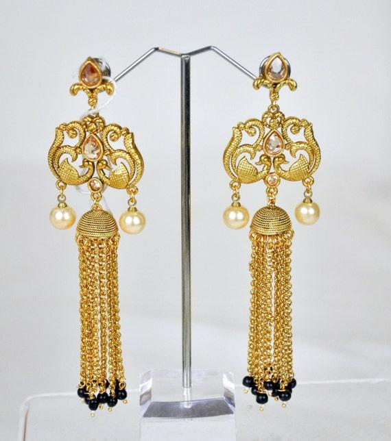 Antique waterfall earrings | Indian Jewelry | Indian Earrings | indian jhumkas