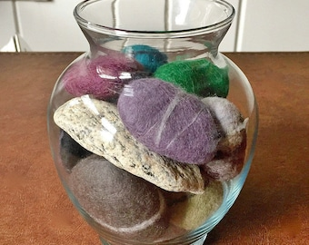 Felted rocks, wet-felted stones, river rocks, pebbles -- include a secret message in permanent metallic ink!