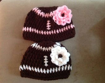 Crocheted baby Girl Football Beanie with flower 0-3 Months to 9-12 Months