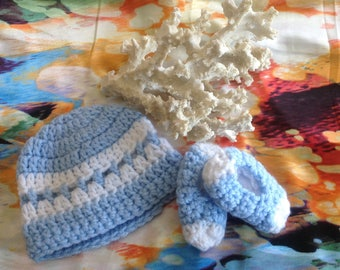 Crocheted Premie Hat & Bootie Set Baby Blue and white Fits 4-6 pounds Baby
