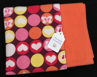 Hearts and Butterflies Flannel Baby Blanket