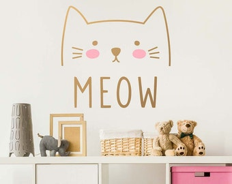 Cat Wall Decal   Cute Cat Decal, Kids Wall Decal, Nursery Decal, Removable Part 43