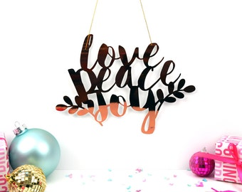 Love Peace Joy Christmas Wall Hanging, Rose Gold Copper Banner, Stocking filler, christmas gift