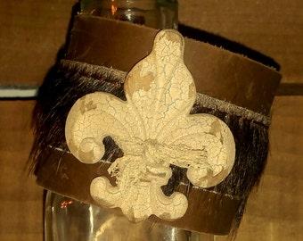 Handmade Brown Leather Bracelet Metal Fleur De Lis Jewelry Hair On Hide Boho Bracelet Hippie Jewelry