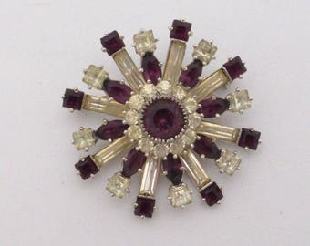 Sterling Silver Starburst brooch with clear and purple rhinestones AA504
