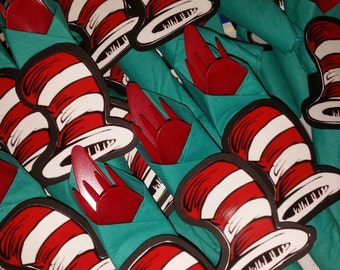 Dr Seuss Party Cutlery, Cat in the Hat wrapped utensils. Dr Seuss Napkins! Cat in the hat. Thing 1 thing 2