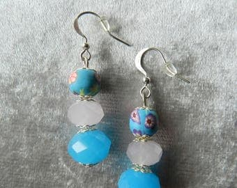 Blue, Pale Pink and Silver Dangle Earrings with Flower Design