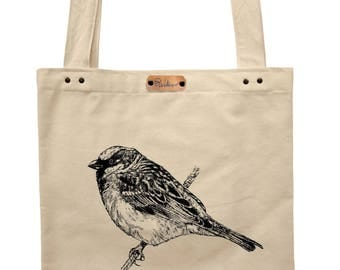 Sparrow - hand printed cotton tote bag