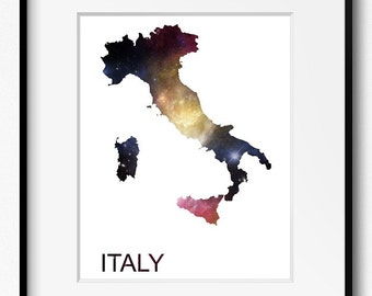 Italy Watercolor Stars Map Art Print (516) Europe Rome